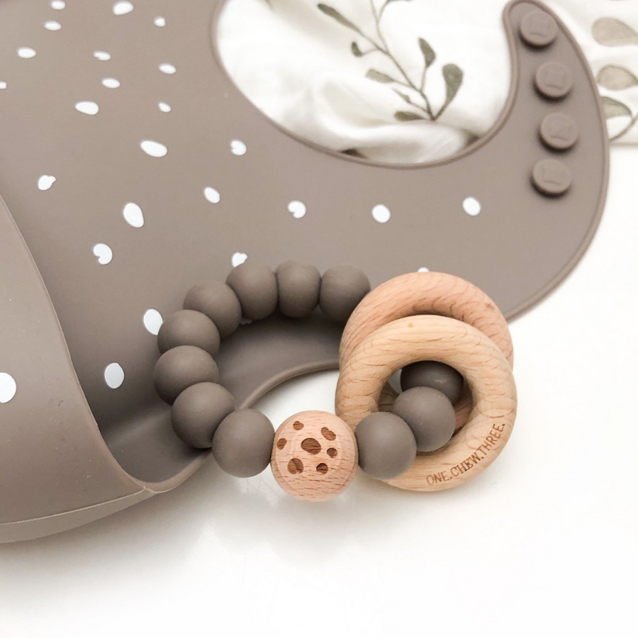 One Chew Three - Silicone Bib and Teether Pack (Stone Pebbles)