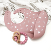 One Chew Three - Silicone Bib and Teether Pack (Floral Rose)