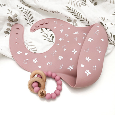 Go-For-Zero-Australia-One-Chew-Three-Australia-Silicone-Catch-Bib-Silicone-And-Beech-Wood-Teether-Pack-Floral-Rose-Elements