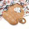 Go-For-Zero-Australia-One-Chew-Three-Australia-Silicone-Catch-Bib-Silicone-And-Beech-Wood-Teether-Pack-Caramel-Rainbow-Elements