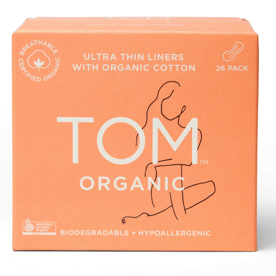 Tom Organics - Ultra Thin PANTY LINERS (26 pack)