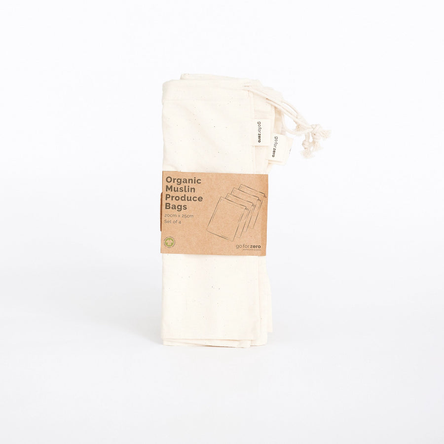 Go for Zero - Organic Muslin Produce Bags (Set of 4)