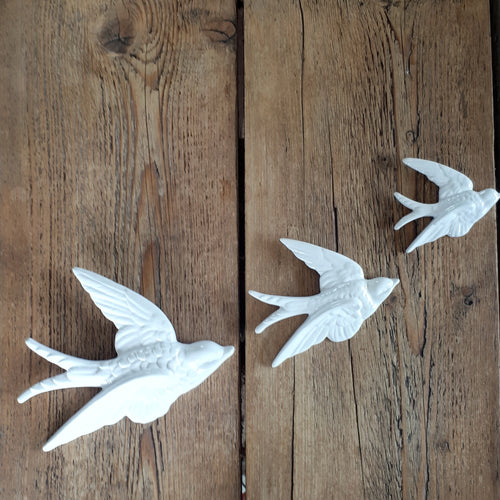 White Flying Swallows - Set of 3