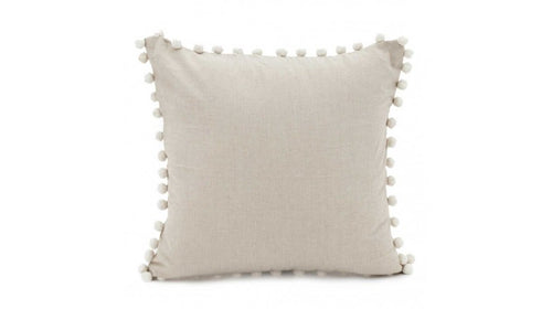 Taupe Pom Pom Border Cushion with Feather Filler