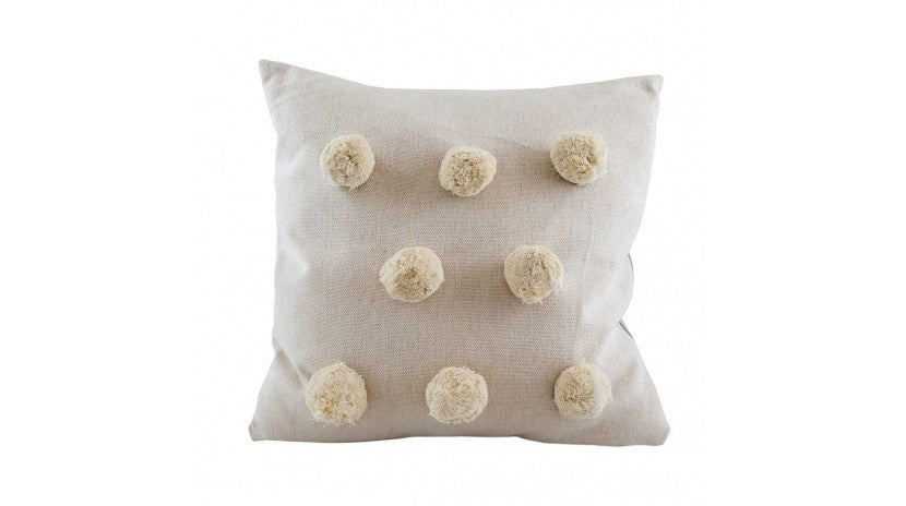 Off White Pom Pom Cushion with Feather Filler