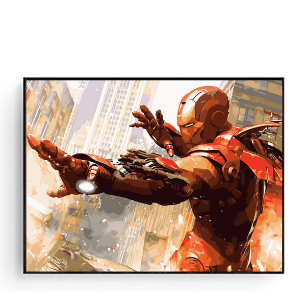 Iron Man Painting By Numbers Kit frameless and framed available