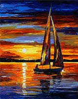 Sailing Sea and Sunset Seascape