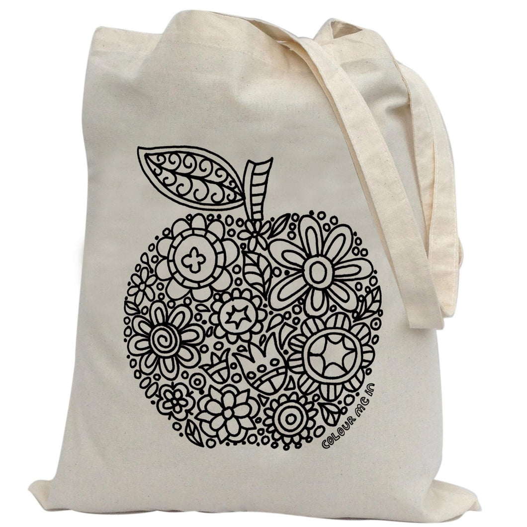 Tote Bag Colour Me In Apple