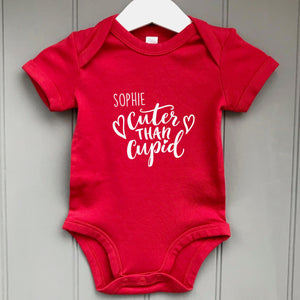 Personalised  Baby Grow Cuter Than Cupid