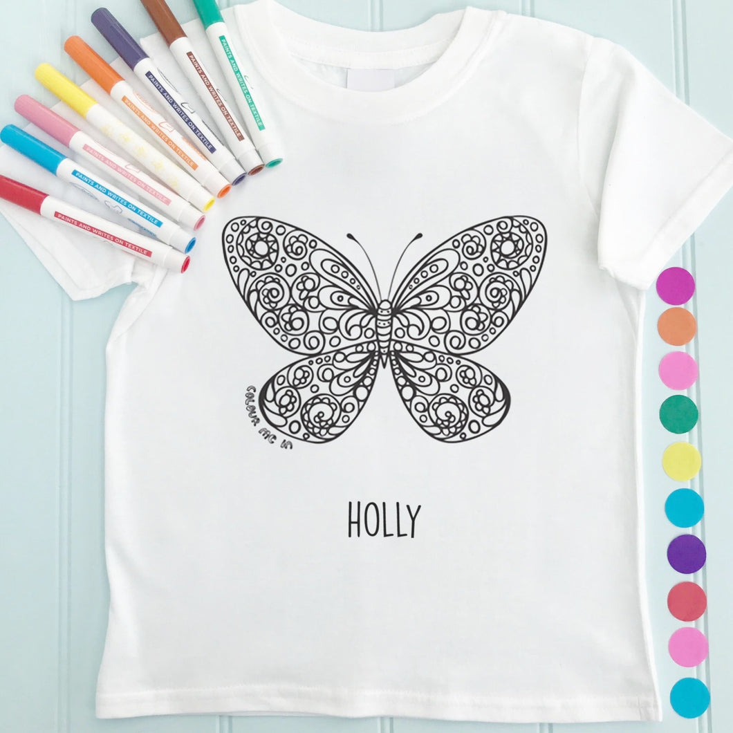 Butterfly T-Shirt Personalised To Colour in