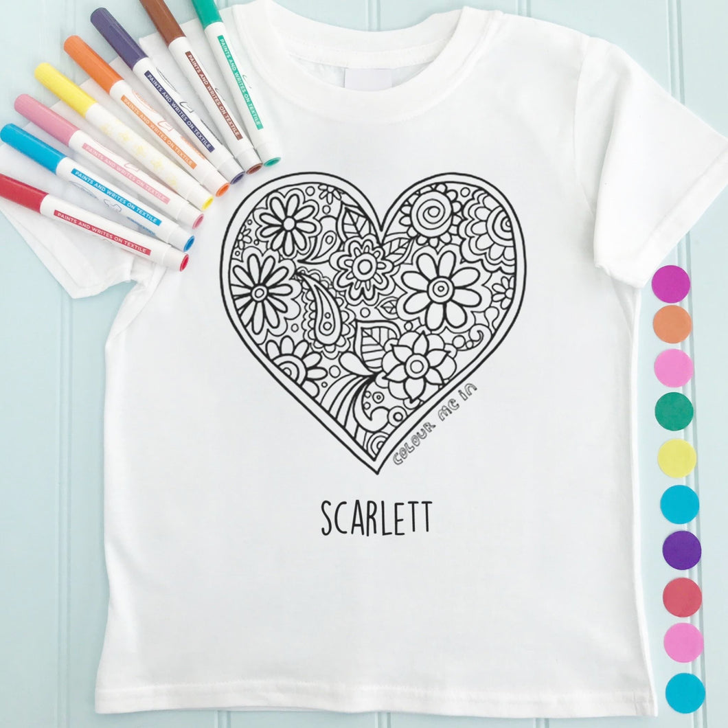 Heart T-Shirt Personalised To Colour in
