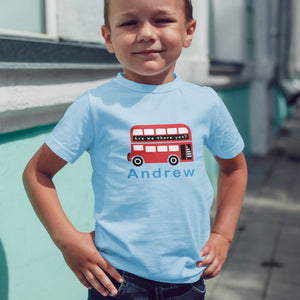 boys London bus personalised t-shirt
