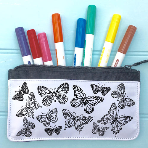 Butterflies Pencil Case To Colour In