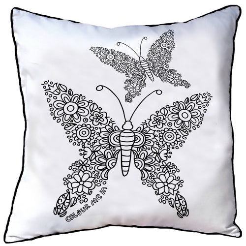 Colour In Cushion Butterfly Pair Design