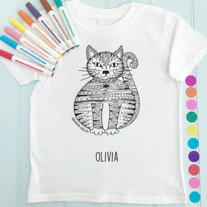Cat T-Shirt Personalised To Colour in