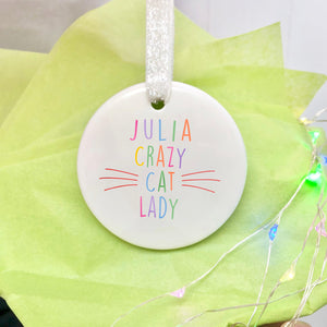 Personalised Crazy Cat Lady Decoration