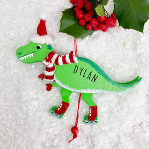 Personalised Christmas Dinosaur Pull Toy