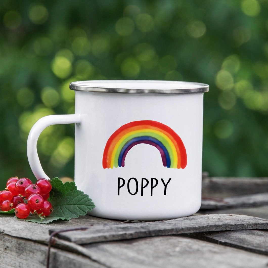 Personalised Enamel Rainbow Mug