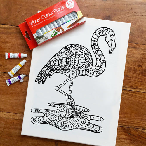Colouring In Painting Kit Flamingo Canvas