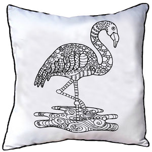 Colour In Cushion Flamingo Design