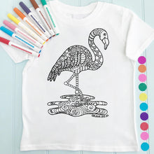Flamingo T-Shirt Personalised To Colour in