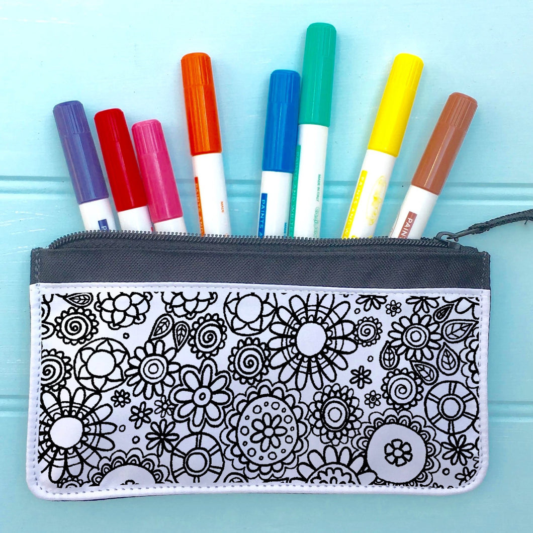 Flowers Pencil Case To Colour In
