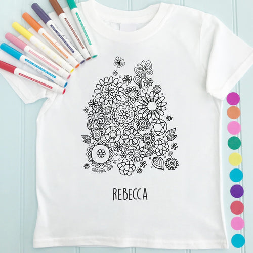 Flowers T-Shirt Personalised To Colour in