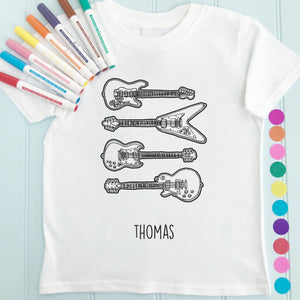 Guitars T-Shirt Personalised To Colour in