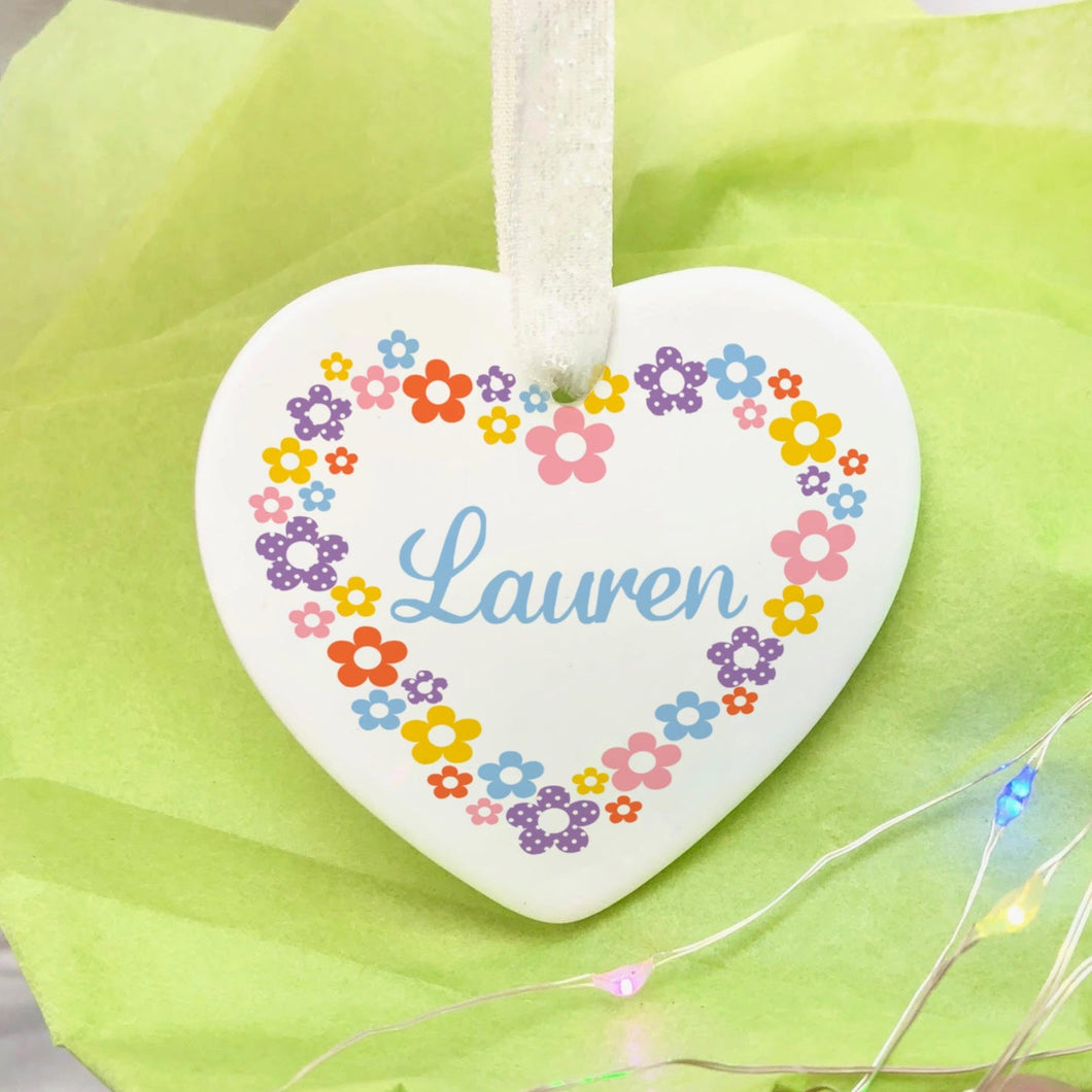 Personalised Floral Heart Decoration