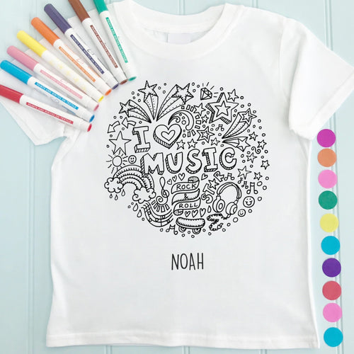 Music T-Shirt Personalised To Colour in