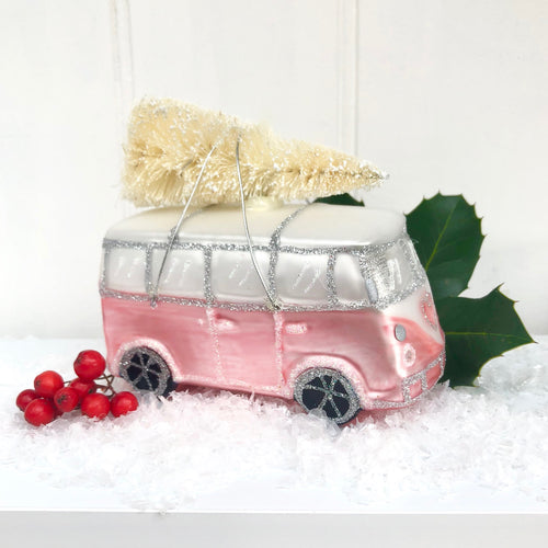 Christmas Pink Camper Van decoration