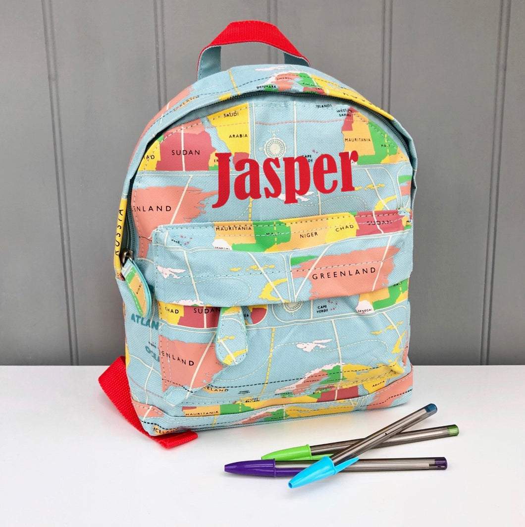 Personalised Kids Map Backpack