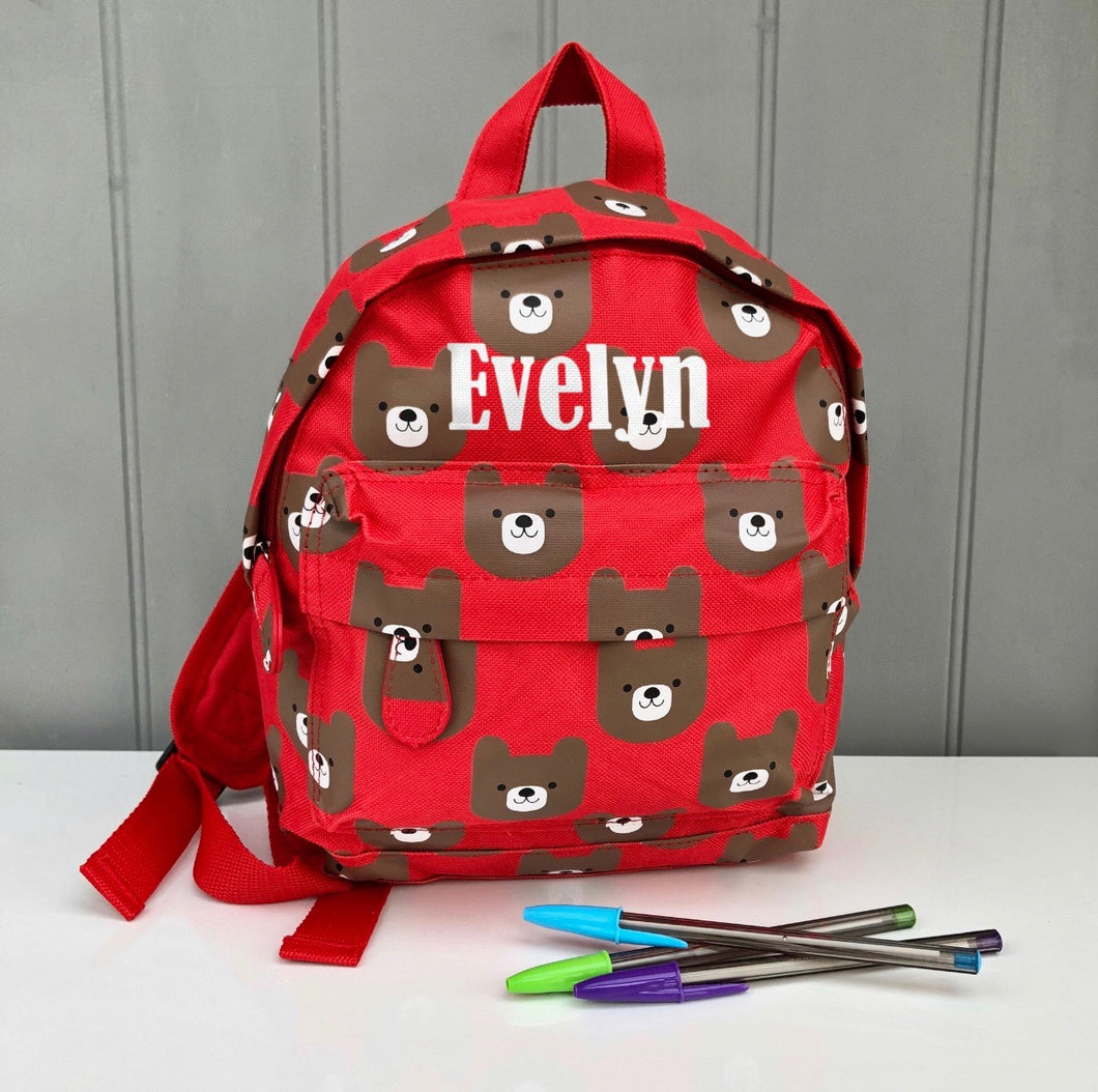 Personalised Red Bear Backpack