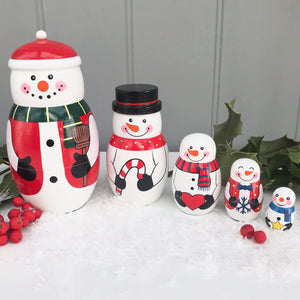 Christmas Snowman Russian Dolls Set