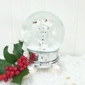 Christmas White Dog Snow Globe