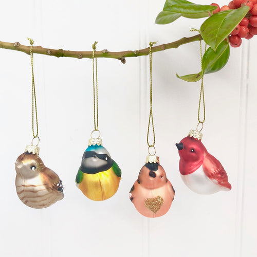 Christmas Vintage Style Bird Decoration Set