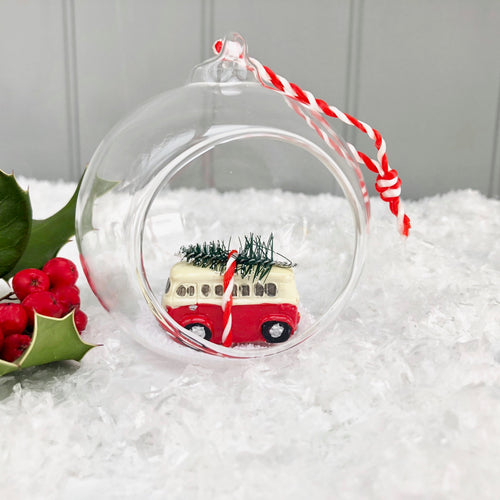 Christmas Camper Van In Glass Bauble