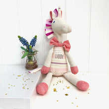 Personalised Linen Toy Unicorn