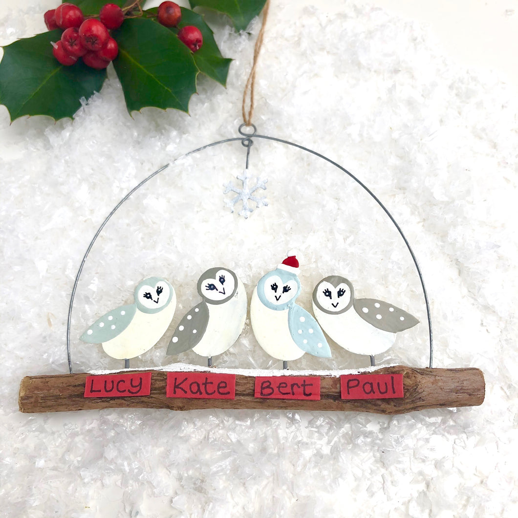Family Of Four Owls Christmas Decoration