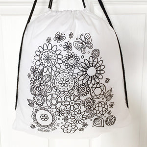Colour Me In Flowers Drawstring Bag