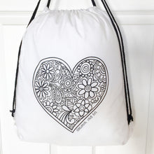 Colour Me In Heart Drawstring Bag