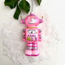 Christmas Pink Robot Glass Decoration