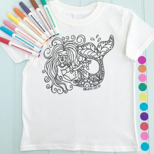 Mermaid Girls T-Shirt Personalised To Colour in