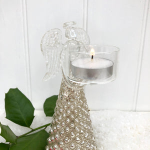 Glass Angel T Light Holder