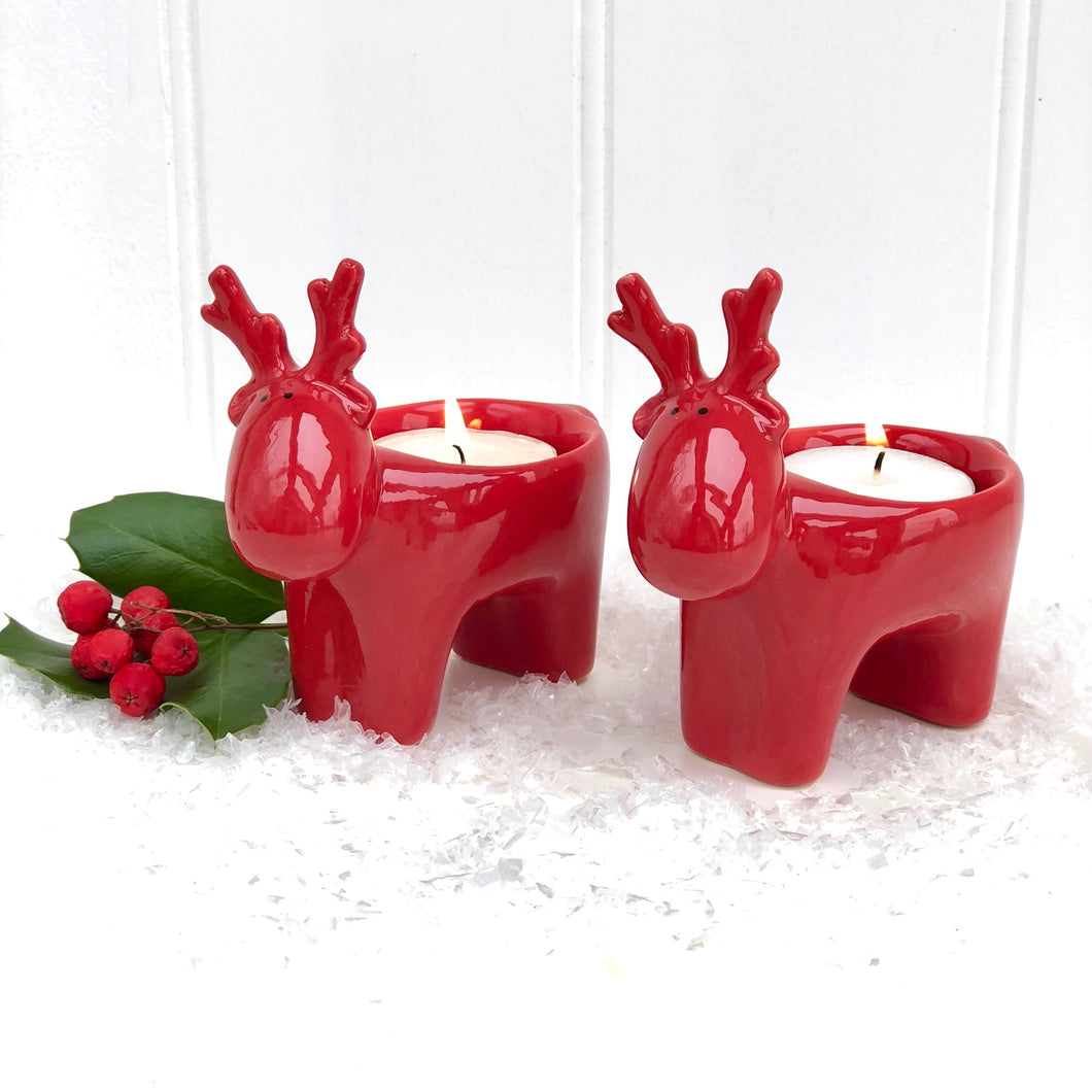 Ceramic Reindeer Candle Holders