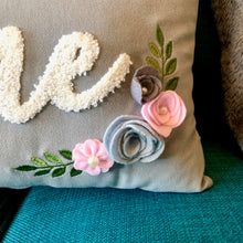 Grey velvet Rose Cushion