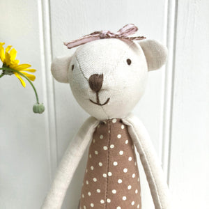 Personalised Toy Linen Bear with Bow