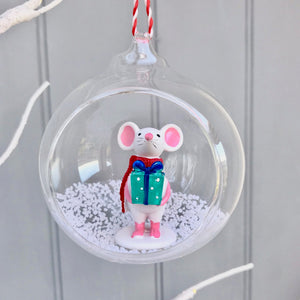 Christmas Mouse Glass Bauble