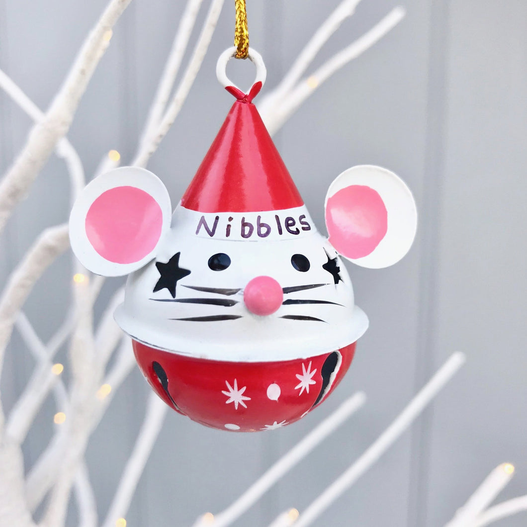 Personalised Jingle Mouse Metal Bauble