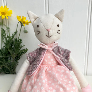Personalised Toy Linen Cat In Dress
